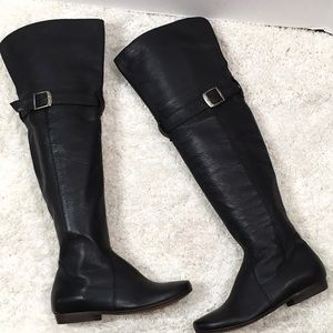 Eric Michael black leather OTK riding boots